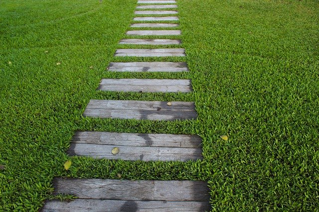 Walkway with wood slice in Edmonton