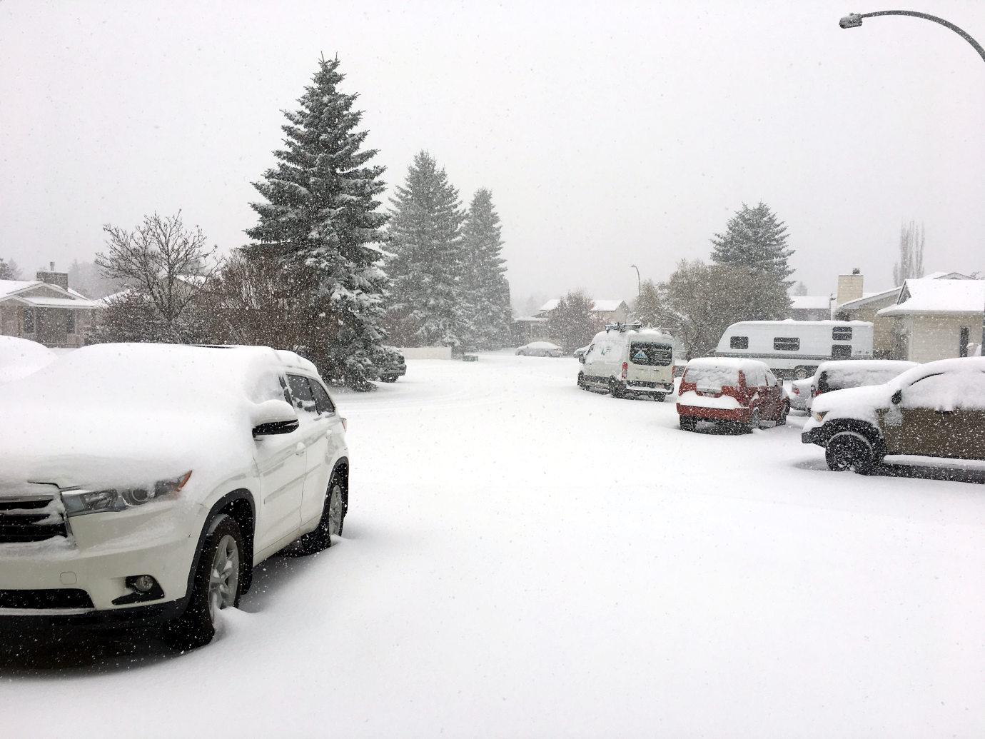 Snowfall in Edmonton in winter