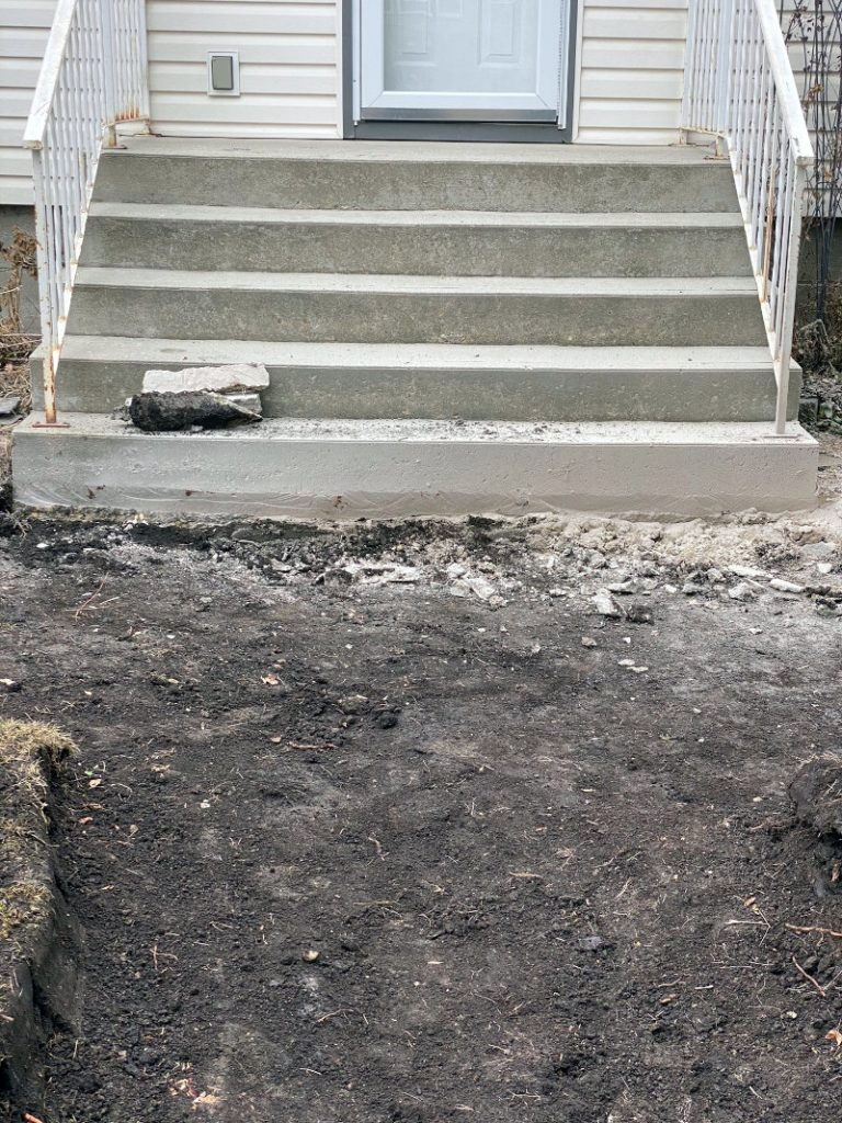 Step 2: Remove old stone and Level the land